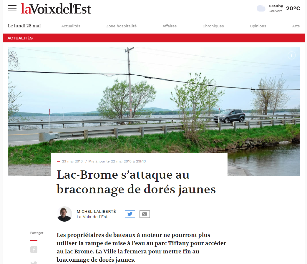 Réponse du président de l'Association des Pêcheurs Sportifs du Québec - Fermeture de la rampe du Parc Tiffany à Lac-Brome.